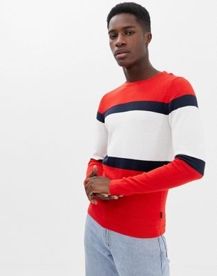 Image 1 of Jack & Jones Originals Knitted Sweater With Sport Stripe