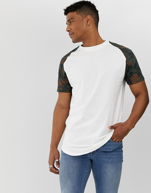 Jack & Jones Originals - T-shirt long a manches longues et camouflage - Blanc 1464243