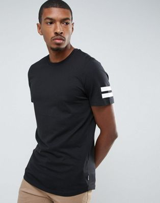 Jack & Jones Originals Longline T-Shirt With Curved Hem And Arm Stripes