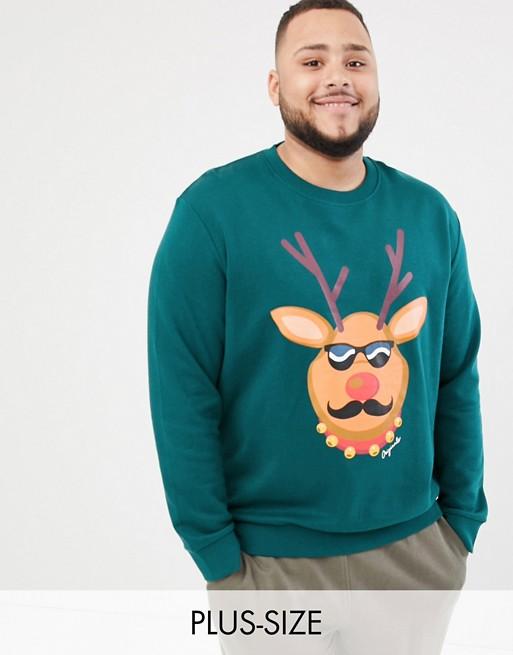 Image 1 of Jack & Jones Originals Plus Size Christmas Sweatshirt With Reindeer Print