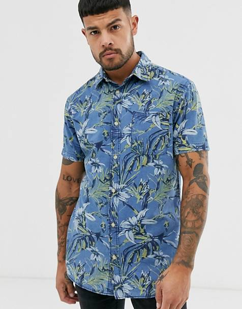 Jack & Jones Originals printed short sleeve shirt in blue