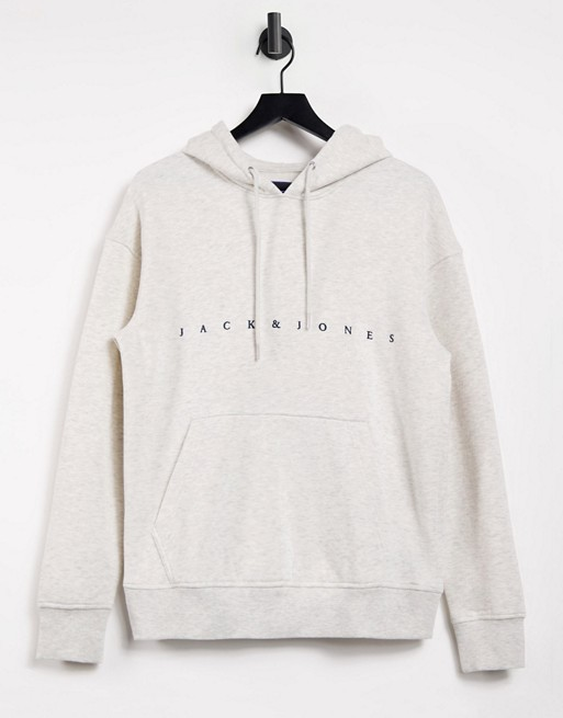 Jack & Jones Originals relaxed fit logo hoodie in off white