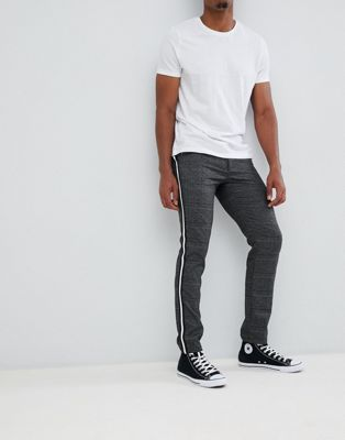 Jack & Jones pant in slim tapered check with leg stripe