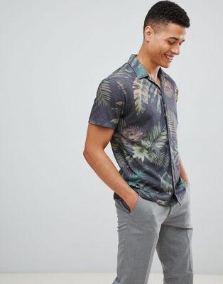 Jack & Jones Premium - Camicia a maniche corte stampata con collo a rever