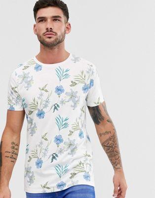 Jack & Jones Premium floral printed t-shirt in white