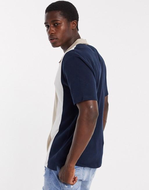 Jack & Jones Premium – Granatowo-beżowa koszulka polo w pionowe pasy HWZO