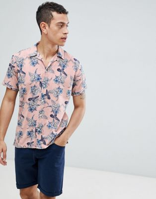 Jack & Jones Premium Revere Collar Short Sleeve Shirt With Floral Print
