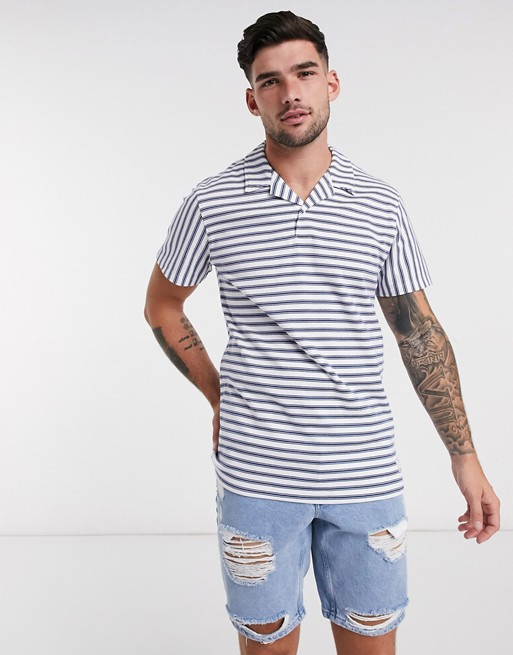 Jack & Jones Premium revere collar t-shirt in stripe
