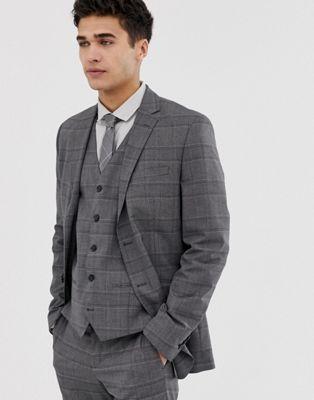 Jack & Jones Premium suit jacket in slim fit wool herringbone grey - ASOS Price Checker