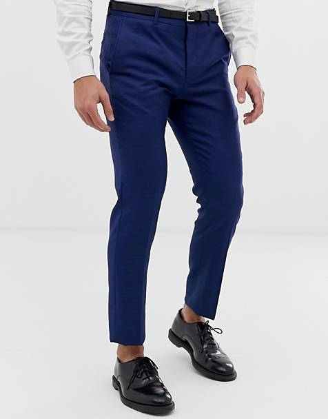 Jack & Jones Premium slim fit stretch suit trousers in blue