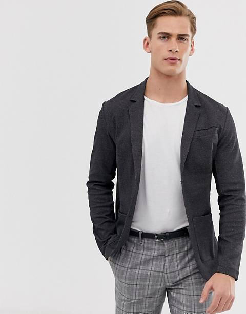 Jack & Jones Premium super slim jersey blazer in charcoal