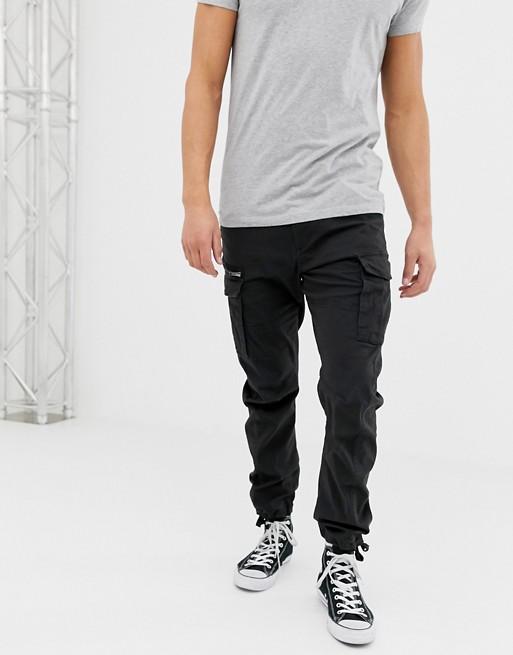 Image 1 of Jack & Jones slim fit cargo pants in black