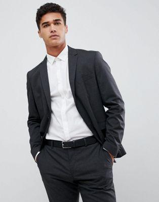 Image 1 of Jack & Jones Slim Fit Charcoal Plain Suit Jacket