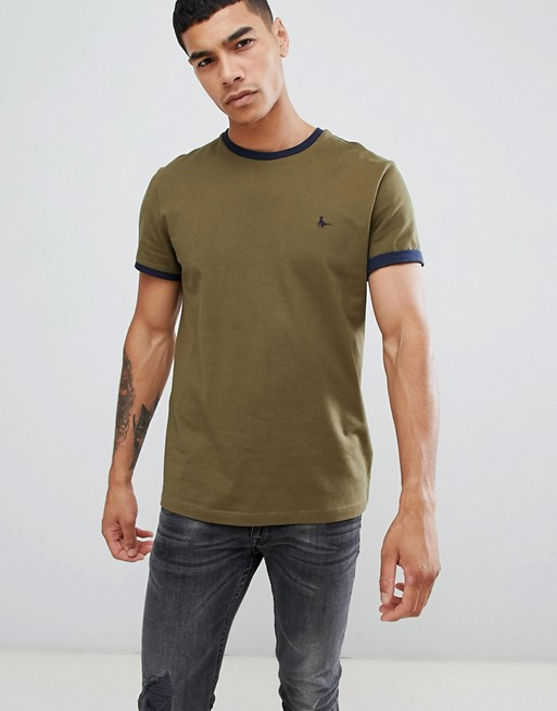 Image 1 of Jack Wills Baildon slim fit ringer t-shirt in khaki Exclusive at ASOS