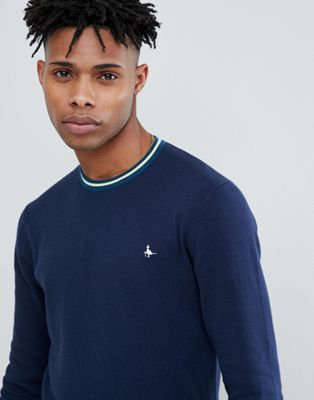 Jack Wills Bilton Stripe Tipped Crew Neck Jumper in Navy