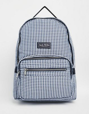 Image 1 of Jack Wills Classic Backpack in Navy Gingham