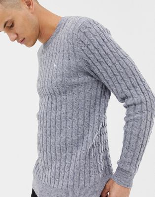 Image 1 of Jack Wills Marlow cable knit wool blend nep jumper in grey marl
