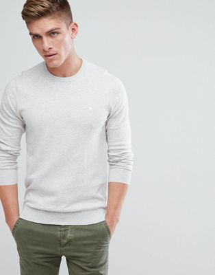 Jack Wills Seabourne Classic Crew Neck Jumper In Off White