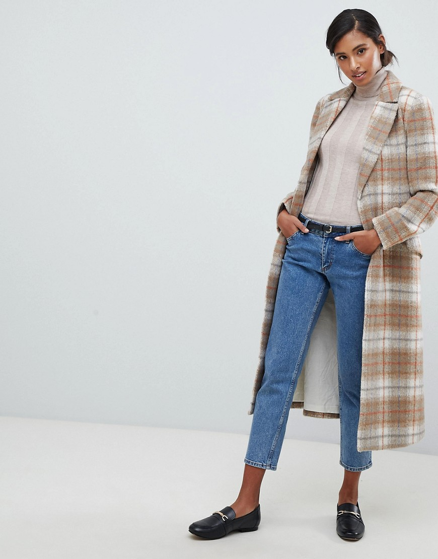 Jack Wills Wool Blend Wrap Coat In Check by Jack Wills