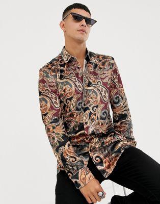 Jaded London long sleeve shirt in velvet paisley print