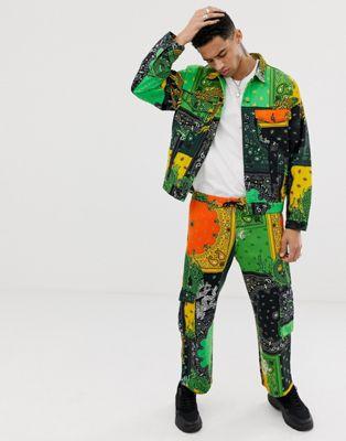 Image 1 sur Jaded London - Pantalon cargo à imprimé cachemire motif dragon - Vert et jaune
