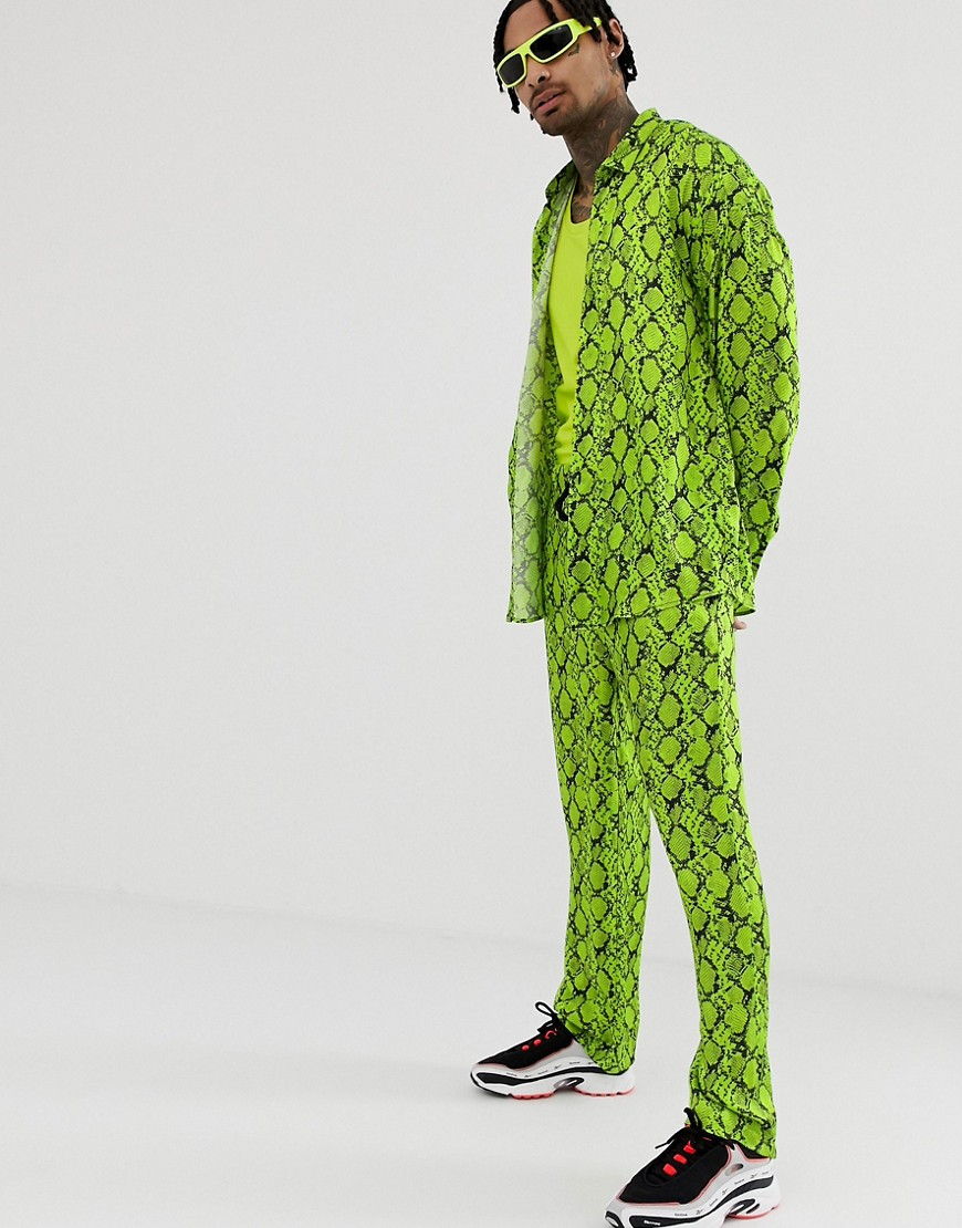 Jaded London Satin Shirt In Neon Green Snakeskin by Jaded London