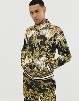 Image 1 of Jaded London track top in leopard baroque print