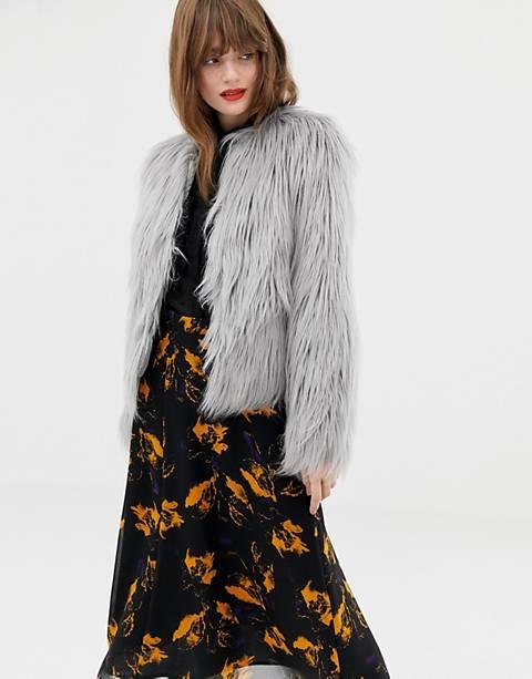 Jakke cropped jacket in faux mongolian fur
