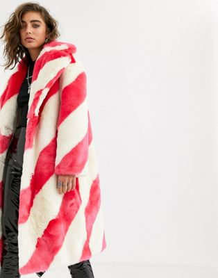 Jakke long coat in faux fur candy stripe