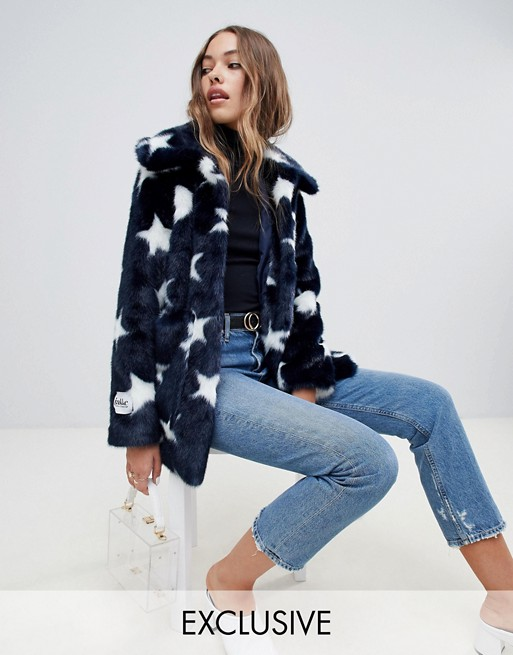 Jakke mid length faux fur jacket in celstial print