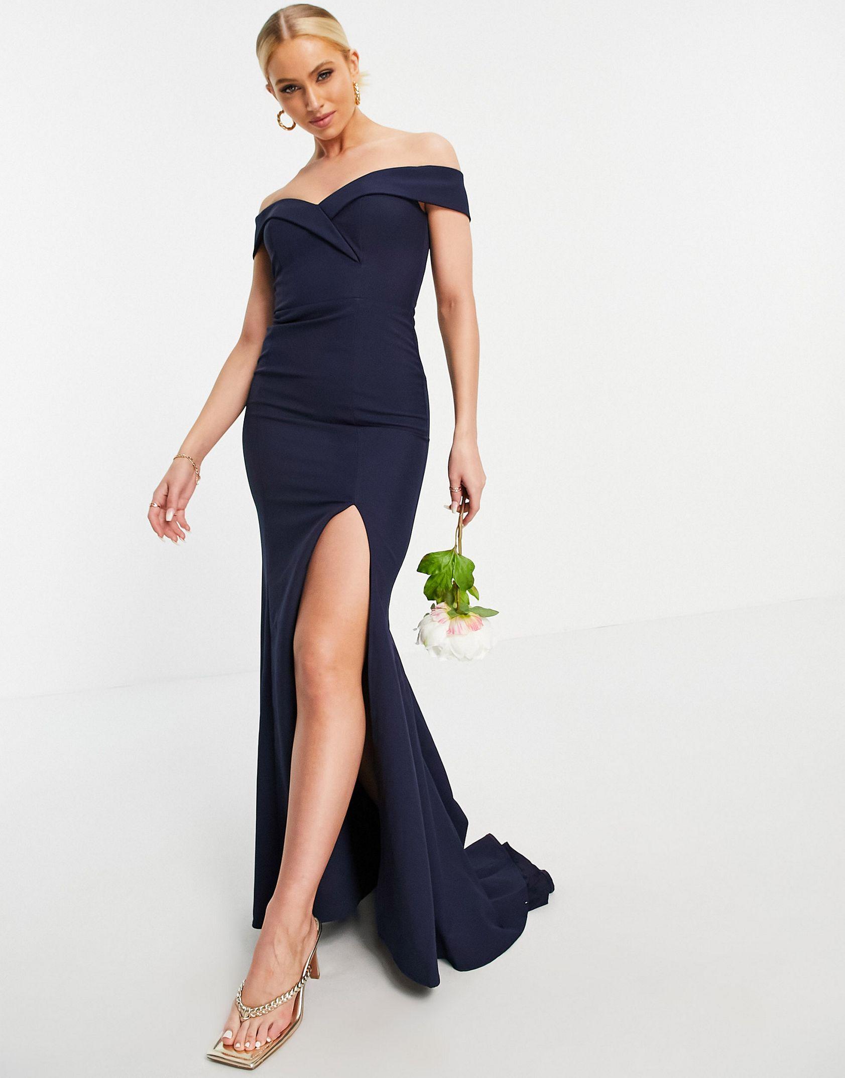 Jarlo bardot maxi dress with thigh split in navy -  Price Checker