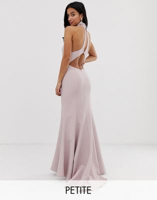 Image 1 of Jarlo Petite high neck trophy maxi dress with open back detail in pink