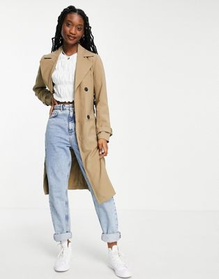 & Other Stories recycled long belted wool coat with shoulder pads in beige - ASOS Price Checker