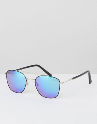 Jeepers Peepers Black Aviator Sunglasses With Blue Lens