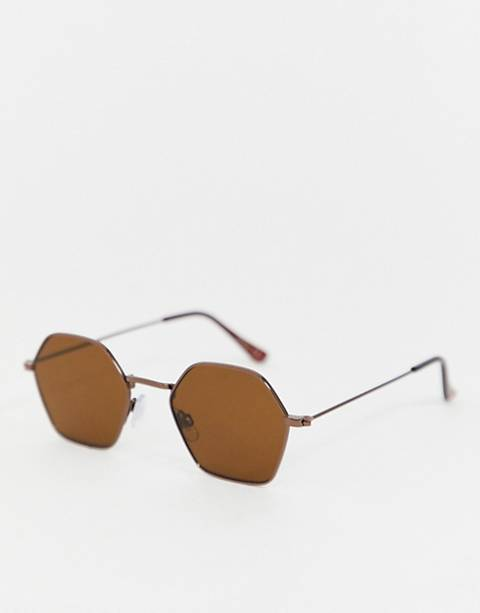 Jeepers Peepers hexagon sunglasses in brown