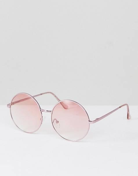 Jeepers Peepers - Lunettes de soleil rondes en métal avec verres teintés  roses 29b8bf7e5289