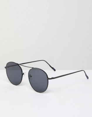 Jeepers Peepers Round Metal Sunglasses In Black