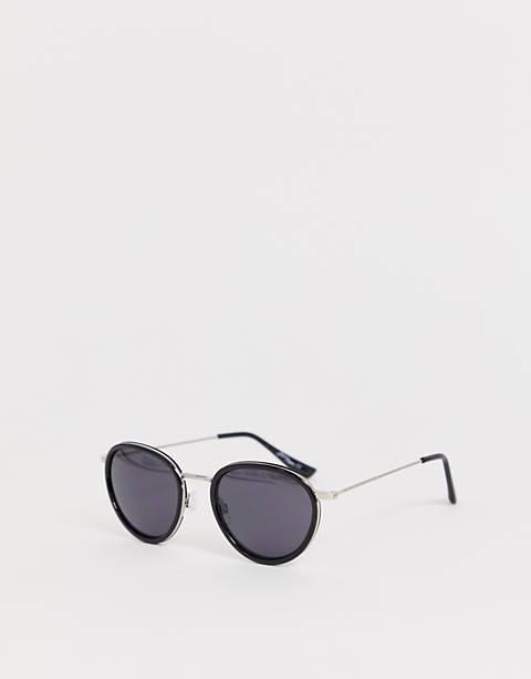 Jeepers Peepers – Runde Sonnenbrille in Silberschwarz
