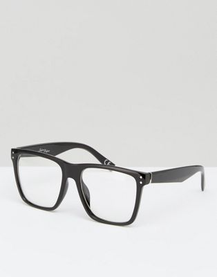 Jeepers Peepers Square Clear Lens Glasses In Black