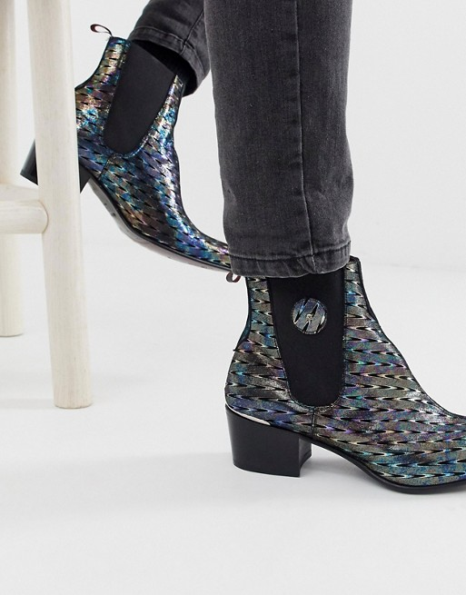 Jeffery West Sylvian cuban boots in oil slick