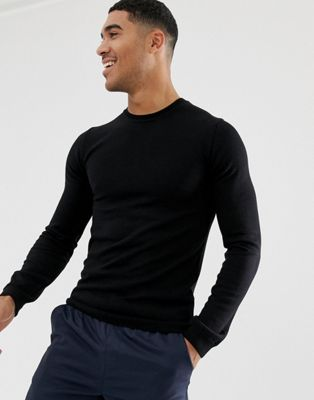 Jersey ajustado de lana de merino en negro de ASOS