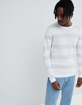 Jersey de algodón a rayas en blanco y gris de ASOS