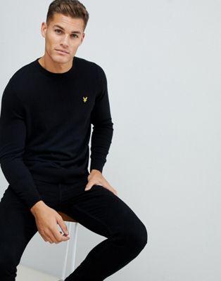 Jersey negro de algodón de Lyle & Scott