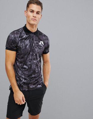 J.Lindeberg - Golf Big Bridge TX - Polo en jersey motif camouflage - Noir
