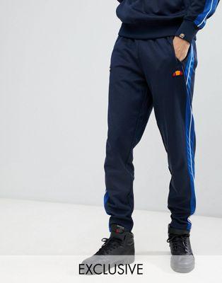 Joggers azul marino de pernera recta con raya lateral y ribete de ellesse