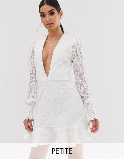 John Zack Petite plunge front lace flippy mini dress in white