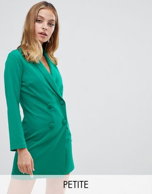 John Zack Petite tuxedo mini dress in green