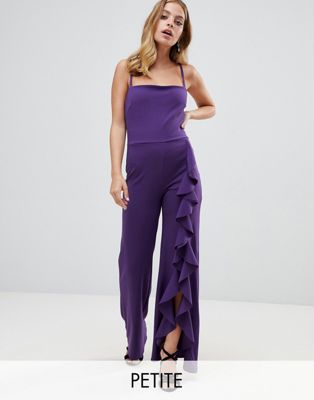 John Zack Petite wide leg jumpsuit with exaggerated ruffle detail in purple