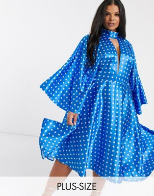 John Zack Plus collar detail batwing sleeve midi skater dress in blue polka print - ASOS Price Checker
