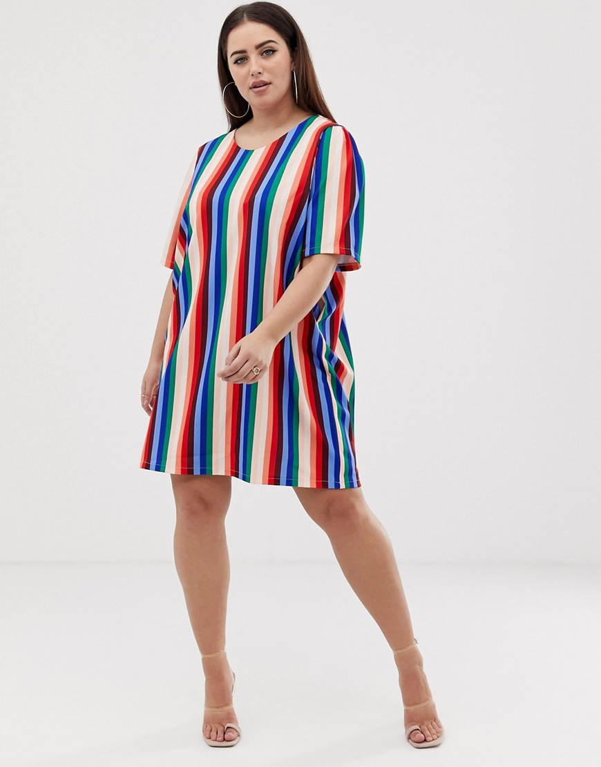 John Zack Plus T Shirt Dress In Muli Stripe by John Zack Plus